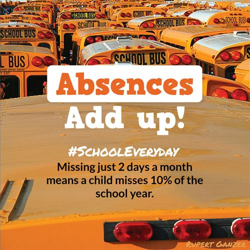 "Graphic ""Absences Add Up"" #schooleveryday"